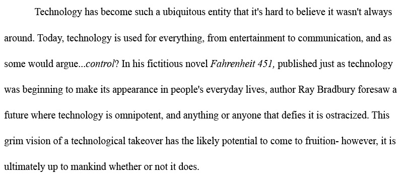 Fahrenheit 451 essay on technology - bashcold ru