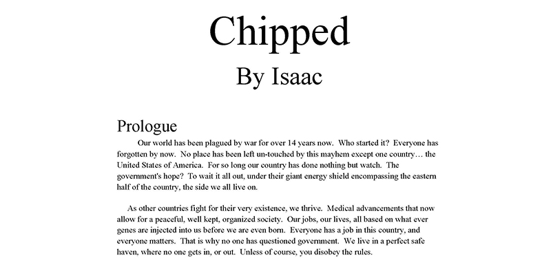 chipped  a dystopian story