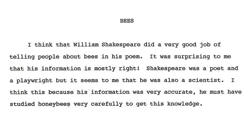 Bees and shakespeare essay models of excellence